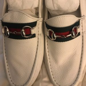 Authentic Gucci white loafers
